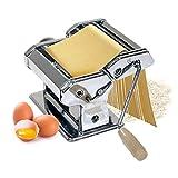 Oramics Nudelmaschine verchromt mit Kurbel, 9 Teigdicken und 3 Walzen für Spaghetti, Pasta und Lasagne, Manuelle Pasta Maschine Pasta Maker