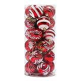 Venkaite Weihnachtskugeln Ornamente, Weihnachtsbaum Bälle Dekorationen für Weihnachten Hochzeitsfest Dekoration (24 / Pack, gemalte Kugel, 2,36 Zoll 60mm), Rot