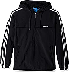 adidas Originals Mens 3 Stripe Windbreaker, Black, Large