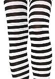 Leg Avenue 7100Q - Plus Größe Gestreiftes Strümpfhose Kostüm Damen Karneval, schwarz/weiß, Größe: (EUR 42-46)