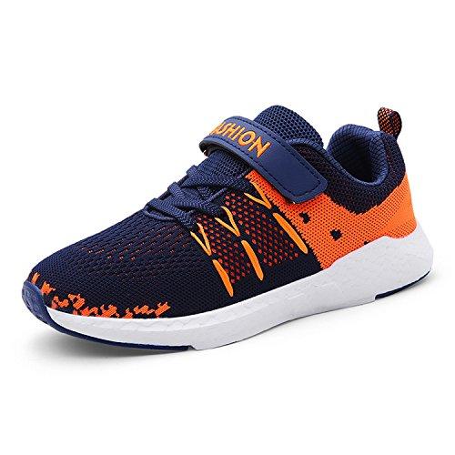 Unpowlink Kinder Schuhe Sportschuhe Ultraleicht Atmungsaktiv Turnschuhe Klettverschluss Low-Top Sneakers Laufen Schuhe Laufschuhe für Mädchen Jungen 28-37, Blau, 36 EU