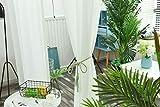 iTextilogie Voile Transparent Gardinen Vorhang mit Ösen Wohnzimmer Schlaufenschal Schlafzimmer Gardine Vorhänge Leinenoptik Weiß Blatt 2er Set HxB(175x140cm)