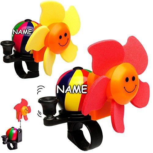 alles-meine.de GmbH Fahrradklingel mit Windmühle -  Blume - bunter Farbmix  - inkl. Name - mit coolem Effekt - UNIVERSAL Klingel für das Fahrrad - stabiles Metall - Windrad DRE.. -