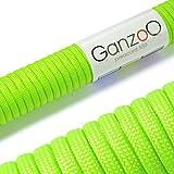 Paracord 550 Seil hell-grün-neon | 31 Meter Nylon-Seil mit 7 Kern-Stränge | für Armband | Knüpfen von Hunde-Leine oder Hunde-Halsband zum selber machen | Seil mit 4mm Stärke | Mehrzweck-Seil | Survival-Seil | Parachute Cord belastbar bis 250kg (550lbs) - Marke Ganzoo