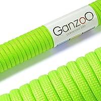 Ganzoo - Cuerda universal de supervivencia, fabricada en paracord 550, 550 lbs, 31 m, color verde
