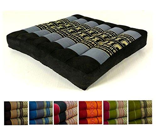 Kapok Sitzkissen 35x35x6,5cm Der Marke Livasia, Optimal Als Stuhlauflage Oder Meditationskissen, Bodenkissen, Stuhlkissen (Blau / Elefanten)