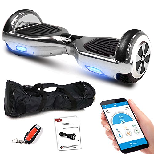 Smartway Balance Scooter 6, 5 Zoll 600W-Motion V.5 mit App Funktion, Bluetooth Lautsprecher, Kinder Sicherheitsmodus, Elektro Self Balance E-Scooter, 600 Watt (SilberChrome)
