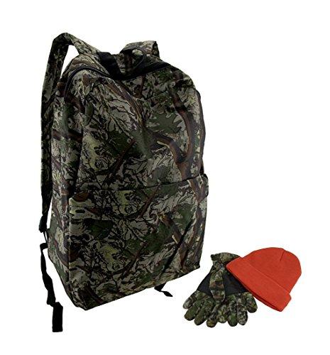 3Piece Outdoor camouflage zaino guanti e cappello set