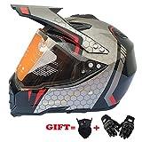 LETU Dual Sport Motocross ATV Quad Dirtbike Motorradhelme DOT genehmigt mit Visieren und winddichter Maske und Handschuhen,L57CM~58CM