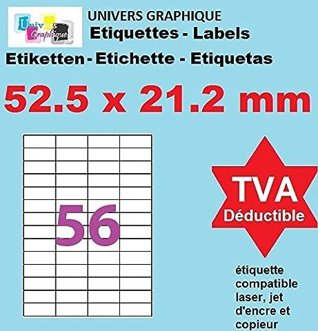 10 Planches de 56 de mini étiquette 52.5 x 21.2 mm = 560 etiquettes - Blanc Mat - pour imprimantes Laser et Jet d'encre - Feuilles A4 autocollantes référence univers UGE56V01 code logiciel 3668