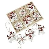 set di 12 in legno rosso e bianco tradizionali decorazioni albero di natale