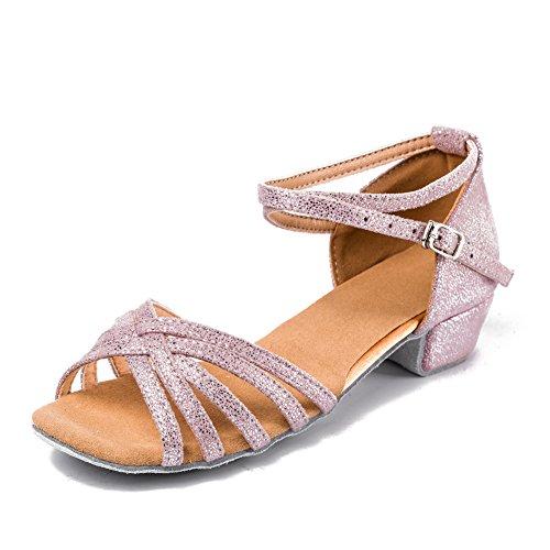 Swdzm donna&bambina scarpe da ballo/raso/modern standard salsa latin dance it1702 argento+rosa 33 eu/20.8cm