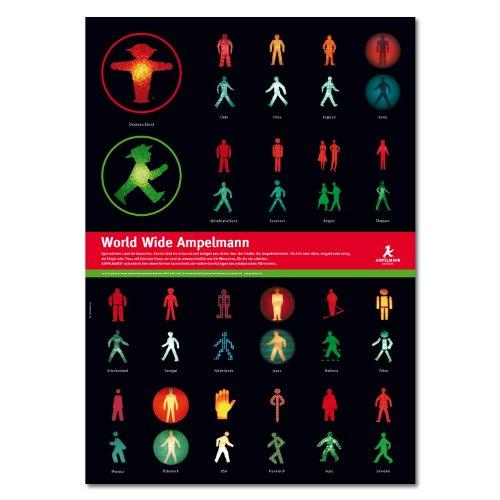 AMPELMANN Poster - Botschafter Ampelmännchen aus aller Welt/Ampelwelt 4-farbig