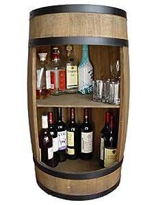 Scaffale Bar Barile Legno 81cm Marrone Barile, botte armadietto, tavolino, wine bar in legno