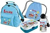 Mein Zwergenland Set 5 Kindergartenrucksack mit Brotdose, Trinkflasche und Turnbeutel Classic mit Namen, 4-teilig, hellblau