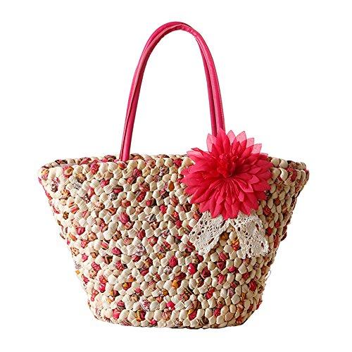TININNA Donne Estate Moda Fiori Borsa di paglia Spiaggia Vacanza Borsa A Tracolla Shopper Sacchetto Tote di Viaggio(Rose Rosso) Rose Rosso