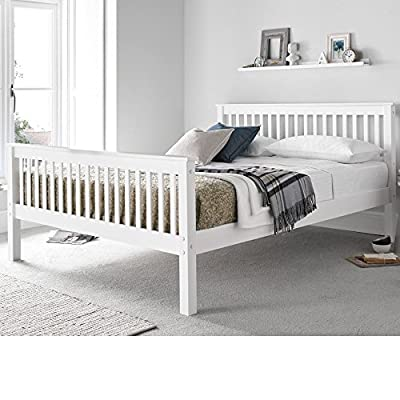 Happy Beds Bed Lisbon Contemporary White Finish Solid Pine Wood Frame Sleep 4'6'' Double 135 x 190 cm - cheap UK light store.