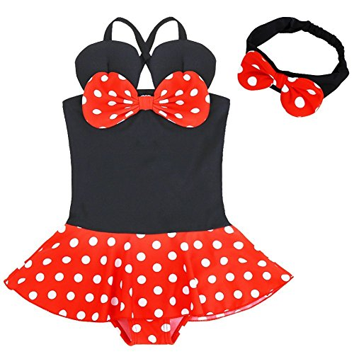 YiZYiF Süßer Tupfen Badeanzug Mädchen Schwimmanzug Kleinkinder/Baby/Mädchen Kostüm 86-128 Schwarz + Rot 122-128 (Kleinkinder Süße Schwarze)