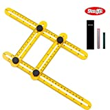 Angleizer Template Tool - Measures All Angles and Forms Angle-izer Angle Template Tool for Handymen, Builders, Craftsmen (Yellow)