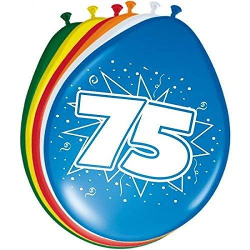 bb10 Schmuck 75 Geburtstag Deko Luftballon Ballons mit Zahl 75 Farbmix Dekoration zum 75er Geburtstag Party oder andere Anlässe 8 Stück (Geburtstag 75 Ballons)