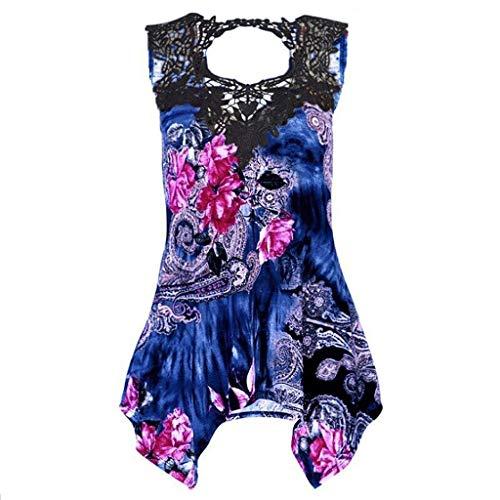 iHENGH Damen Top Bluse Bequem Lässig Mode T-Shirt Sommer Blusen Frauen ärmellose Spitze unregelmäßig lässig Shantou Print Weste Bluse Shirt Tops(Blau, XL)