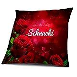 Kissen mit Füllung, Motiv Rosen mit Name Schnucki, vollflächig bedruckt 40 x 40 cm, Namenskissen, Geschenkidee