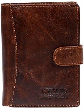 Cierre cartera monedero cartera de piel para hombre (marrón)