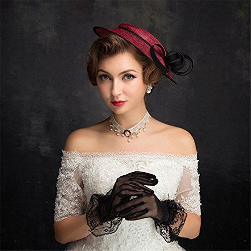 Women's Birdcage Veils Organza Headpiece-Wedding Headpiece & Fascinator mit Lace Feather Hut (Stirnband Birdcage)