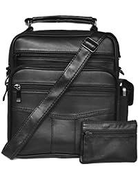 ATIPIX - Sacoche Homme (avec poche smartphone) et Porte-Monnaie plat assorti - Porté main ou épaule - Cuir Agneau - Sacoche : 24 (H) cm x 21 (l) cm x 8,5 (E) cm