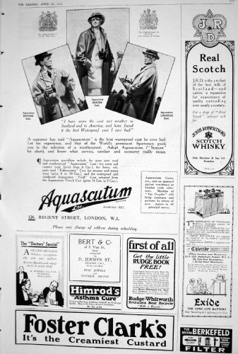 old-original-antique-victorian-print-1923-foster-clark-custard-aquascutum-scotch-whisky-john-roberts