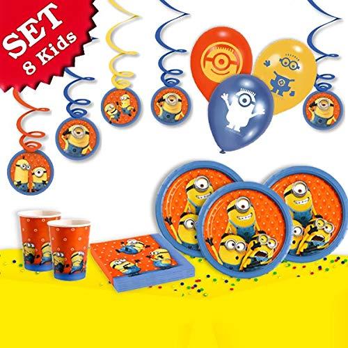 ag-Deko-Set, 54-teilig zum Kindergeburtstag für Jungen und Mädchen und Minion Motto-Party für 8 Kids ()