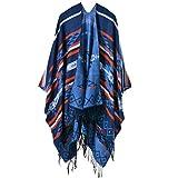 YACUN Damen Winter Reversible überdimensioniert Decke Poncho Cape Schal Schals NavyBlue F