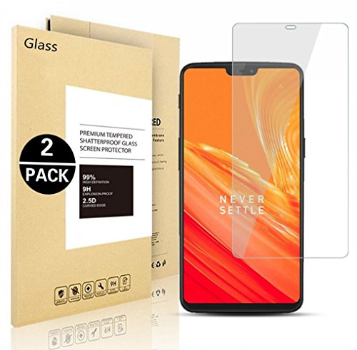 6 OnePlus Protective Film, Voigeer [2 Pack] [0,3mm, 2,5D] [9H Hardness] [Easy Installation] [HD Clear] Tempered Glass Screen Protector for OnePlus 6