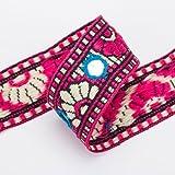 The Yard Neotrims Indianerband Handbestickt Pailletten/Spiegel für Dekoration Kleidung/Handwerk Stil Gujarati 4 meters rosa (türkis)