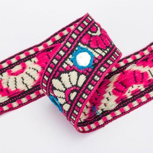 he Sari Salwar Kameez Bordüre Spiegel Pailleten Gujarat Stil Nähzugebehör - Kirschrosa (Türkis), 1 Rolle mit 16,4 Meter (Satin Ribbon Großhandel)