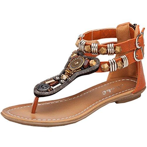 Azbro Women's Graceful Summer Buckled Thong Sandals Black