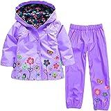 Yuncai Bambine Manica Lunga Incappucciato Antipioggia Impermeabile Antivento Fiore di Stampa Pantaloni Set di 2 Pezzi Viola M