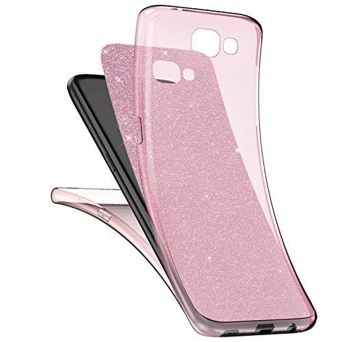 Preisvergleich Produktbild Galaxy A5 2016 Hülle,Surakey Samsung Galaxy A5 2016 Full Body 360 Grad TPU Silikon Crystal Case,Glänzend Glitzer Transparent Vorne Hinten Komplett Schutzhülle TPU Bumper Case Etui - Rose Gold