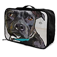 AGnight Portable Luggage Bag Waterproof Duffel Bag for Travel, Pit Bull Puppy Dog Duffle Luggage