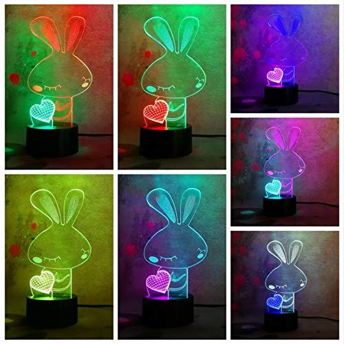 Neue Art 3D Doppeltes Farbiges Liebes-Herz-Kaninchen Mischte Farben-Änderungs-Usb-Noten-Halloween-Kindspielzeug-Feiertags-Geschenk-Weihnachtsgeschenk
