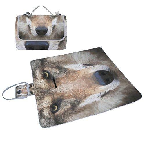 Hund Gesicht Design Picknickdecke Tote handliche Matte Mehltau resistent und wasserfest Camping Matte für Picknicks, Strände, Wandern, Reisen, Rving und Ausflüge (Realistische Hund)