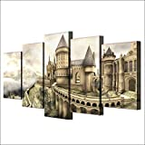 FimGGe  Modern Canvas Wall Art Poster Frame Home Decor Modular HD Printed Pictures 5 Pieces Harry Potter Hogwarts Castle Painting-Large with Frame