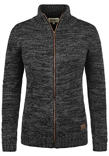 DESIRES Phenix Damen Lange Strickjacke Cardigan Grobstrick Winter Longstrickjacke mit Reißverschluss und Stehkragen, Größe:S, Farbe:Black (9000) (Reißverschluss Damen Strickjacke)