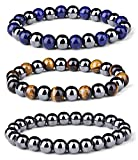 Jstyle 3Pcs Magnetic Hematite Therapy Beads Bracelet Men Women Healing Energy Natural Stone
