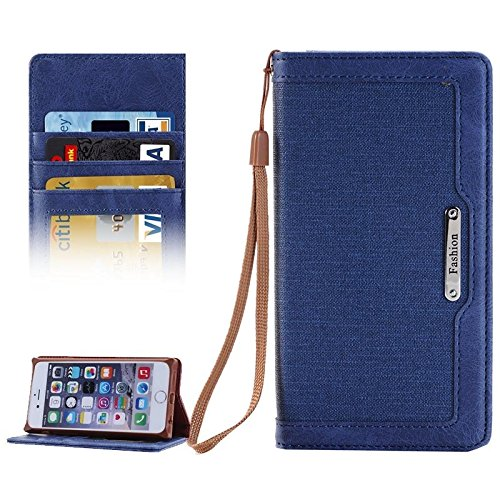 Wkae Case Cover Denim Texture Magnetic Horizontal-Schlag-Leder-Kasten mit Halter &Karten-Slots und Brieftasche &Lanyard für iPhone 6 &6s ( Color : Magenta ) Dark Blue