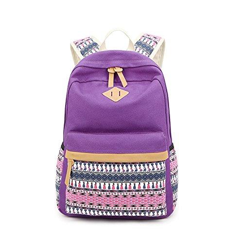 Bunte Streifen Druck Freizeit Segeltuch Schule Rucksack Reise Laptop Rucksack Schulter Bücher Daypack für Jugendlich Junge Mädchen Lila