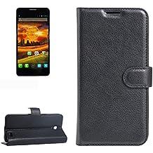 Para Alcatel One Touch Idol X / 6032 / OT-6032 Patrón de textura Litchi horizontal Flip PU funda de cuero con el titular y ranuras para tarjetas y cartera by diebelleu ( Color : Black )