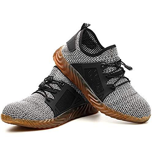 rk Shoes Steel Toe Sicherheitsschuhe Herren Arbeitsschuhe Indestructible Air Boots Herren Bulletproof Sneakers Breathable (44, Gray) ()