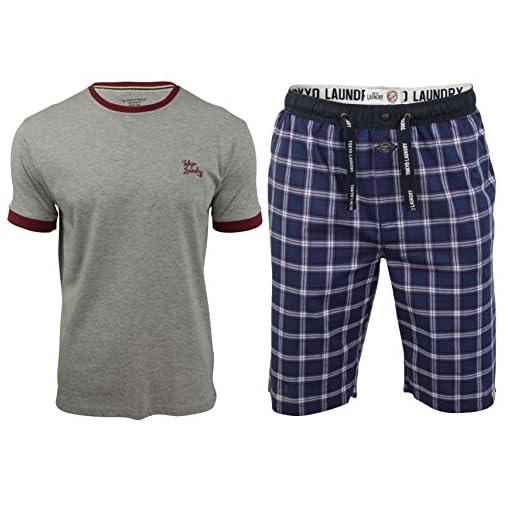 Tokyo-Laundry-Pantaloni-pigiama-A-quadri-Maniche-corte-Uomo