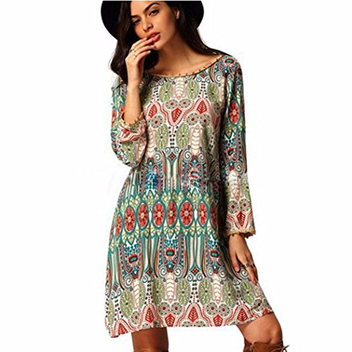 Vestido para mujer, Oyedens Vestido de las mujeres Vestido retro del viento nacional flojo de la ropa del cuello redondo (M)